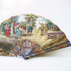 Vintage Folding Fan Hand Fan Victorian Ladies Purse by WhimzyThyme