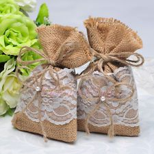 Rustic Burlap Lace Gift Bags 12/24/60PCS Jewelry Candy Pouches Wedding Favors
