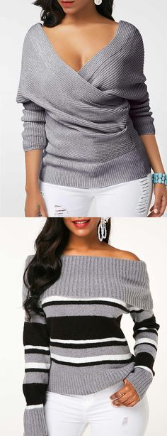 Grey Pullover Long Sleeve V Neck Sweater Look Fashion, Fashion Outfits, Womens Fashion, Fashion Design, Fashion Trends, Fall Outfits, Casual Outfits, Cute Outfits, Sweater Fashion