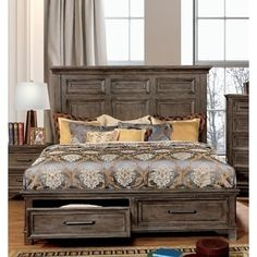 Luckenbach Traditional Rustic Oak Paneled Platform Storage Bed by FOA (Eastern King), Brown, Furniture of America Wooden Bed With Storage, Bed Designs With Storage, Homemade Beds, Storage Bed Queen, Wood Bed Design, At Home Furniture Store, Diy Furniture, Oak Panels, Rustic Bedding