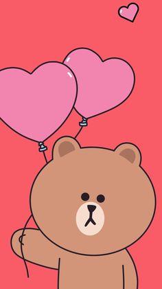 Funky Wallpaper, Lines Wallpaper, Kawaii Wallpaper, Cartoon Wallpaper, Disney Phone Wallpaper, Friends Wallpaper, Wallpaper Iphone Cute, Cute Wallpapers, Line Brown Bear
