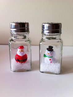 Salt and Pepper Shaker snow globes to make in memory for the first christmas without both grandma and grandpa Christmas Jars, Christmas Crafts For Kids, All Things Christmas, Winter Christmas, Christmas Holidays, Merry Christmas, Christmas Gifts, Christmas Decorations, Holiday Crafts