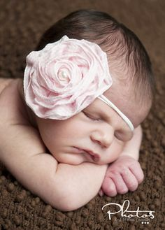 PINK n' WHITE Gingham Checkered Fabric Rosette Flower - with PEARL - Headband - Fits Babies and Toddlers girls