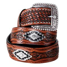 Renowned saddle-maker John Rule designed the original master pattern of the men's Sands belt. The detailing is exquisite, with intricate shading and beveling on premium full-grain leather. Hand-tooled basket weave with hand-tooled overlays, studding and Southwestern-inspired conchos. Wear Ariat's handsome buckle or remove to show off your own.