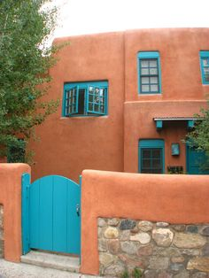 terra cotta and blue doors and windows, santa fe