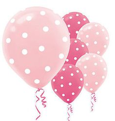 20 PINK & LIGHT PINK POLKA DOT BIRTHDAY PARTY BALLOONS NEW | eBay