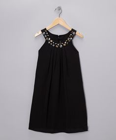 Look at this #zulilyfind! Black Brass Rhinestone Yoke Dress - Girls by Blush by Us Angels #zulilyfinds