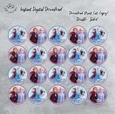 Printable Frozen II Cupcake Toppers, Digital Download, Printable Cupcake Toppers, Frozen II, Printable Frozen Cupcake Toppers, Instant Print by ThistlePartyDesigns on Etsy Frozen Cupcake Toppers, Frozen Cake Topper, Frozen Party, Frozen Birthday, Tiffany Johnson, Character Cupcakes, Daughter Birthday, Party Signs, Etsy App