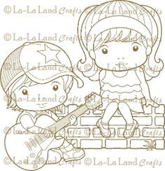 Lil' Rocker and Ruffles Marci Digi Scene 4 - DIGI Stamp