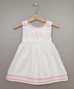 Another great find on #zulily! White Monogram Babydoll Dress - Infant, Toddler & Girls #zulilyfinds
