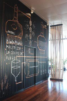 Brewery illustration para MALABAR, Grupo La Sucursal en Veles e Vents Ilustración _ El último proyecto que me encargaron fue crear un mural para el bar Malabar del grupo La Sucursal, apoyado por AMSTEL, en el edificio Veles e Vents en la Marina Real...