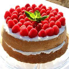 Angel sponge cake with raspberries and cream. A traditional British Cake .Heavenly delicious!!! #MyAllrecipes #AllrecipesFaceless #AllrecipesAllstars