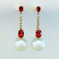 Wear the classics. Ruby, Diamond & South Sea Pearl drops. #finejewelry #chic #ruby #diamond #pearls #red #oneofakind #gems #jewelry #bling #earrings www.johnmeierfinejewelry.com