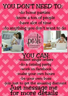Having a Perfectly Posh business is so fun and signing up so so simple! For $99 you will get a business in a box full of business tools and 250.00 worth of product or more, and me! Just head over to  http://perfectlyposhwemily.po.sh/ and click join!
