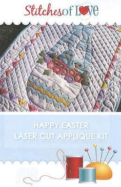 HAPPY-EASTER-LASER-CUT-APPLIQUE-KIT-From-Stitches-of-Love-Quilting-NEW