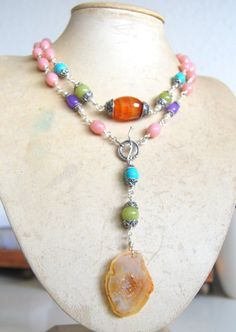 Pink Opal wraparound necklace with carnelian turquoise by mayaruhi, £119.00