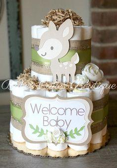 2 Tier Deer Woodland Diaper Cake Green Gender Neutral