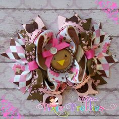 Turkey Diva Stacked Boutique Hair Bow-bling hair bow, tbb, twisted, stacked, layered, pink, hot pink, shocking pink, brown, tan, turftan, white, damask, dots, aqgyle, designer ribbon, glitter ribbon, turkey, pumpkin, hair bow, hairbow, bow, fall, thanksgiving, thankful, rts, diva, princess, girly, girl, ready to ship