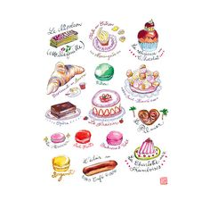 Title : French pastries    Archival giclee reproduction print.  Signed with pencil.  Printed on fine art  BFK Rives  hot-pressed paper, smooth