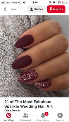 Nageldesign 36 Adorable Fall Nail Art Designs That Fully Beautify Your Look Kitchen Islands Anchor A Stylish Nails, Trendy Nails, Prom Nails, My Nails, Fall Nail Art Designs, Maroon Nail Designs, Sparkle Nails, Cute Acrylic Nails, Nagel Gel