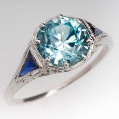 3 Carat Antique Blue Zircon & Sapphire Filigree Platinum Ring