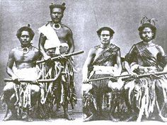 Photograph of four Fijian Warriors
