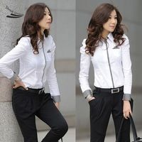 New 2014 Spring Solid Blouses Shirts Women White Long Sleeve Shirt Ladies Plaid Cuff Blouse Clothes For Girls