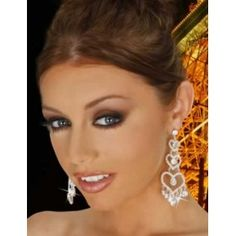 Sparking Rhinestone Heart Linked Earrings Silver i Black Earrings, Circle Earrings, Rhinestone Earrings, Heart Earrings, Diamond Earrings, Fashion Earrings, Fashion Jewelry, Halloween Jewelry, Jewelry Trends