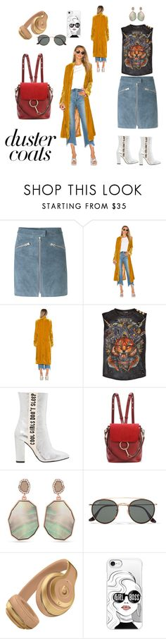 """duster coat on point"" by meditate ❤ liked on Polyvore featuring mbyM, Free People, Balmain, Havva, Chloé, Vince Camuto, Ray-Ban and Casetify"