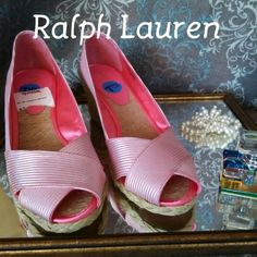 "Ralph Lauren Peeps Brand new and not worn. Pink and white stripes with 2"" heel wedge. Ralph Lauren Shoes Wedges"