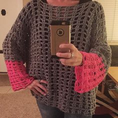 Bad photo I know...but I finally finished the elusive #meshpullover !! I could tell I was running out of gray so I decided to make the bottom half of the sleeves bright pink. I'm happy with it! . And I only ripped it out like 3 times. . #creations #crocheter #crochetfun #crochetclothes #yarn #crochetersofcalifornia #crochetersofinstagram #crochetersoftheworld #crochetersofsandiego #pullover #breathable #pink #gray #crocheteveryday #keeptrying #beautifulday #style #fashion #handmade #homemade…