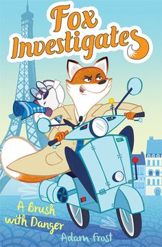 illustration of a fox and his sidekick on a motorcycle