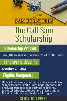 The Sam Bernstein Law Firm appreciates the value of higher education and understand how difficult it is for many people to achieve this worthwhile goal, which is why they launched Call Sam Scholars! College Club, College Hacks, College Life, College Survival Guide, Technical Schools, Scholarships For College, Good Grades, High School Seniors, Study Tips