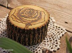 Rustic Log Jewelry Box Rose Wood Burned Art Lid by HomenStead