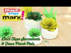 Duct Tape Succulents and Faux Pinch Pots: If you have a black thumb like I do, these colorful duct succulents are the perfect plant for you! Make them in any color to match your decor. Create the pinch pots with recycled plastic bottles! Duct Tape Flowers, Diy Flowers, Faux Flowers, Paper Flowers, Indoor Flowers, Recycled Bottles, Recycle Plastic Bottles, Binder Decoration, Paper Towel Tubes