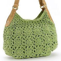Green crochet bag