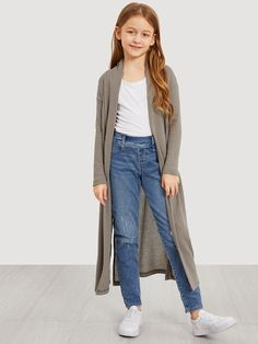Girls Waffle Knit Split Side Jersey Duster Coat | SHEIN Girls Fall Fashion, Girls Fashion Clothes, Tween Fashion, Teen Fashion Outfits, Girl Fashion, Kids Outfits Girls, Cute Girl Outfits, Cute Outfits For Kids, Cute Casual Outfits
