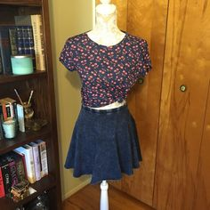 Acid wash circle skirt Worn once, like new condition! Top is also for sale. Forever 21 Skirts