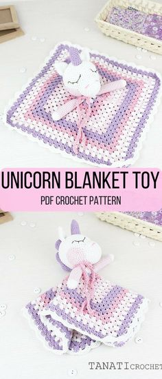 Make your own super sweet unicorn blanket toy. This will be such a cute gift for a baby girl. #unicorn #ad #blankettoy #crochetpattern
