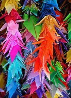 1000 origami cranes at Hiroshima Peace Park, Japan