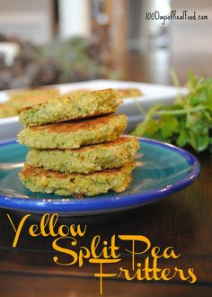 Similar to falafel, these split pea fritters are a plant-based protein source, bite-sized, and also fairly inexpensive (and easy! Pea Recipes, Side Dish Recipes, Real Food Recipes, Vegetarian Recipes, Cooking Recipes, Healthy Recipes, Side Dishes, Lentil Recipes, Detox Recipes