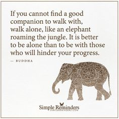 If you cannot find a good #companion walk #alone like the #elephant