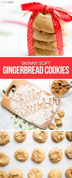Skinny Soft Gingerbread Cookies - Perfect for the holidays! #desserts #holidaycookies #gingerbread