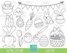 EASTER stamp set includes 16 cute graphics PERSONAL AND SMALL COMMERCIAL USE This clip art pack is perfect for scrapbooking, paper crafts, card design, stickers, party invitations ... and much more! DOWNLOAD INSTANT / NO SHIPPING You will receive: ★ 1 zip containing 16 Files (12