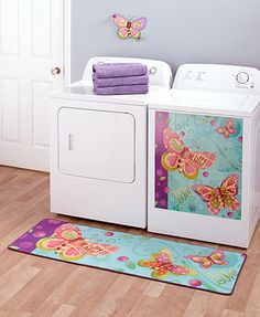 Add a little style to your laundry room with this Bright Butterfly Laundry Collection. The decorative pieces have a coordinating design that will bring a smile