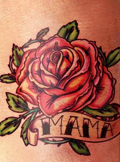Tattoo rose - As symbol of love, rose tattoos often supplemented by inscriptions of the names of loved ones, parents or friends. On photo above depicted one of the classic rose tattoos devoted to mother. American traditional, old school style one of the best choices for rose tattoo like this.