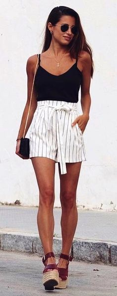 #summer #outfits Black Tank + White Striped Short + Brown Wedge