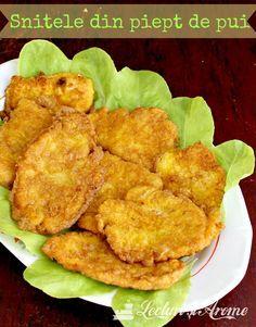 Snitele din piept de pui - simplu, clasic, gustos Romanian Food, Romanian Recipes, Tandoori Chicken, Carne, Meat, Ethnic Recipes, Places, Recipes, Lugares