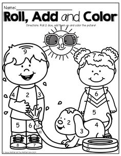 Roll 2 dice, add them up and color part of the picture! What a FUN way to practice adding!