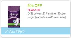 Coupon $0.50 off ONE Always Pantiliner 30ct or larger http://azfreebies.net/coupon-0-50-off-one-always-pantiliner-30ct-or-larger/